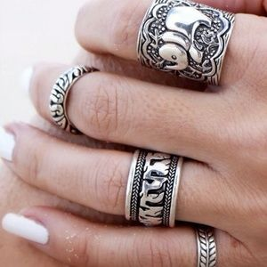 4 Piece Tribal Elephant Ring Silver Color Set